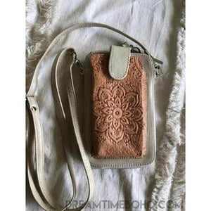 LEATHER FESTIVAL BAG WALLET/PHONE POUCH BOHO WALLET-Leather Wallet-Dreamtime Boho-Cream Mandala-Dreamtime Boho