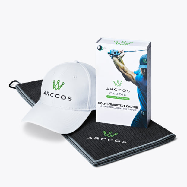 Arccos Caddie Father's Day Bundle - Towel & White Hat