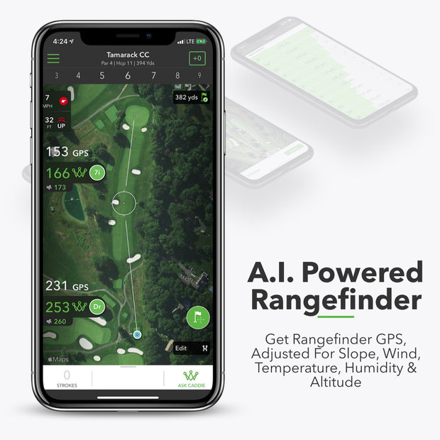 A.I. Powered Rangefinder - Get rangefinder GPS,  adjusted for Slope, Wind, Temperature, Humidity & Altitude