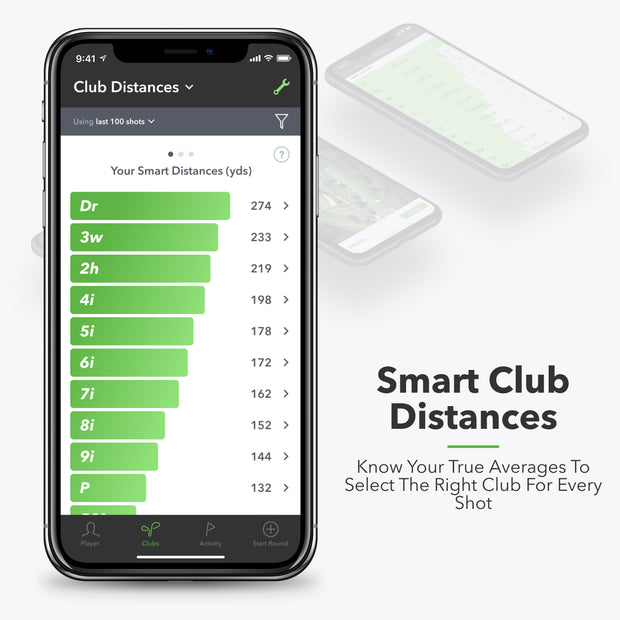 Smart Distance - Know your true  averages to select the  right club for every  shot