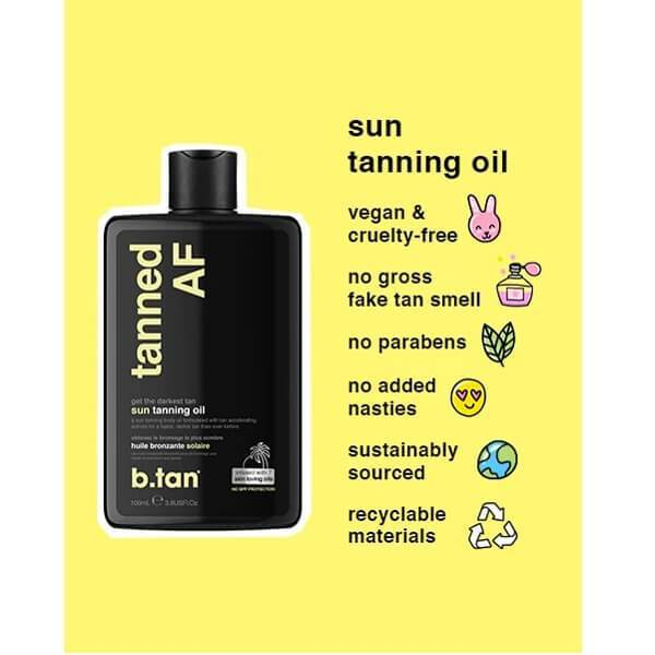 b.tan Tanned AF Tanning Oil Vegan and Cruelty Free
