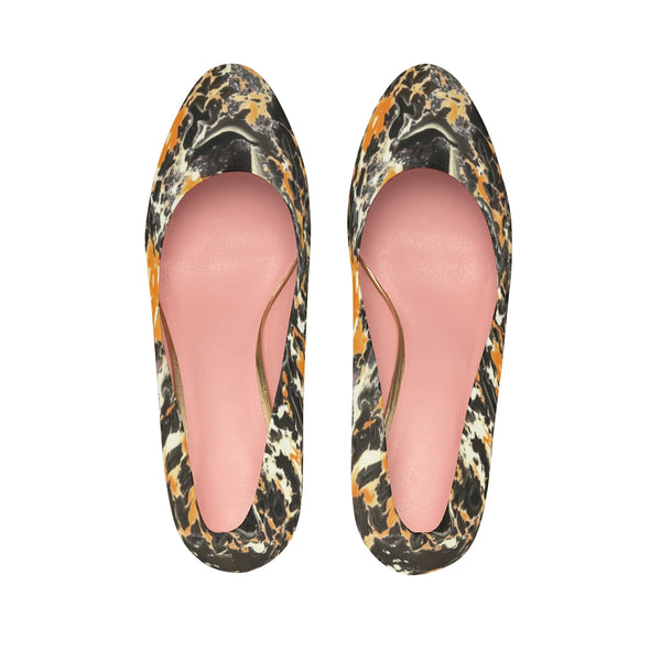 Exquisite Secrets Orange Camouflage Marbling Texture 4inches-10cm Heels Women Shoes
