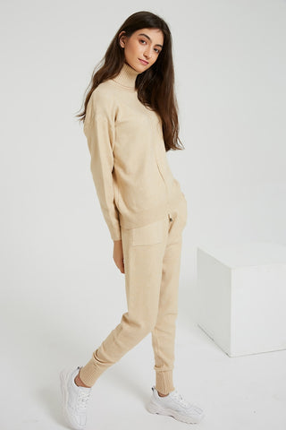 Turtleneck long sleeve sweaters + long pockets trousers 2-piece-set