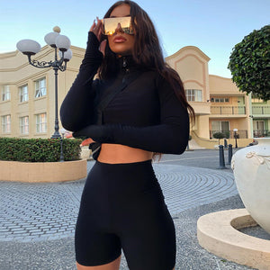 Imago Floris Brand exquisite secrets Clothing Fashion Trendy Casual & Sport 2-Piece Long Sleeve High Neck Crop Top & Biker Shorts Set women clothing trendy outfit shopping online outfit online store fashionable chic blouse black crop top black biker shorts biker beachwear apparel 2019 trendy stuff 2019