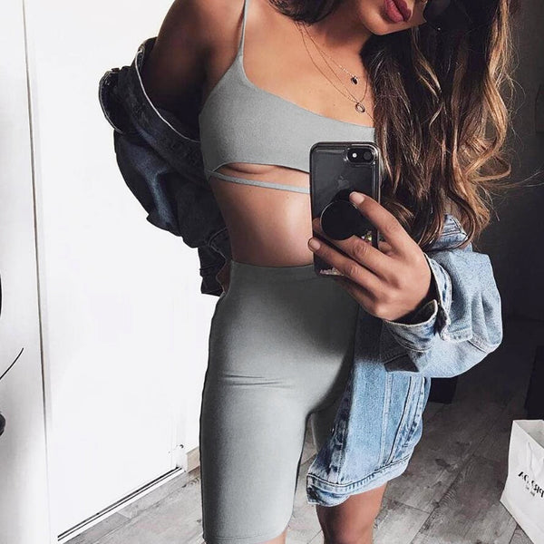 women apparel two piece set tank top shopping on line set online store new 2019 fashionable fashion exquisite secrets cotton cool stuff clothing classic style chic black crop top biker shorts apparel