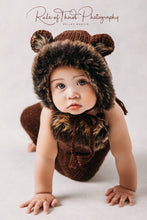 Load image into Gallery viewer, Teddy bear bonnet and coordinating romper, sitter, 9-12 months old, dark brown. Decorated with faux fur. Ready to send photo props