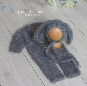 Footless Pyjama Romper and Bunny Hat, 0-3 months old, grey. Easter. Fuzzy yarn. Ready to send