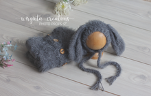 Load image into Gallery viewer, Footless Pyjama Romper and Bunny Hat, 0-3 months old, grey. Easter. Fuzzy yarn. Ready to send