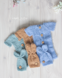 Footless Pyjama Romper and Bunny Hat, newborn, mint, brown, blue. Easter. Fuzzy yarn. Ready to send