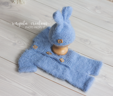 Load image into Gallery viewer, Footless Pyjama Romper and Bunny Hat, newborn, mint, brown, blue. Easter. Fuzzy yarn. Ready to send