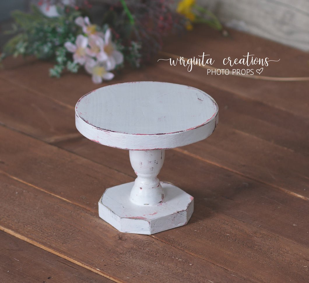 White Cake Plate, Cake Smash Stand, Handmade, Dessert plate, Sturdy, Distressed Cake Plate, Ready to send