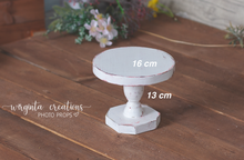 Load image into Gallery viewer, White Cake Plate, Cake Smash Stand, Handmade, Dessert plate, Sturdy, Distressed Cake Plate, Ready to send