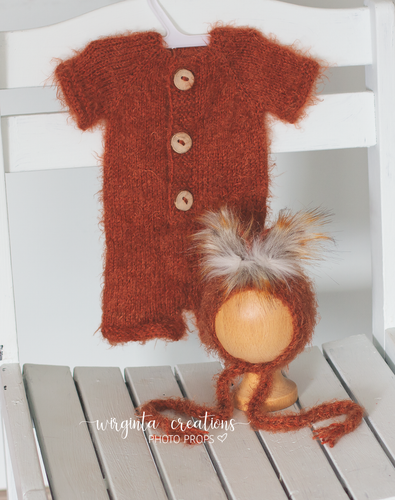 Fox set, newborn ,burnt orange, romper, bonnet, Footless, short sleeves, Ready to send