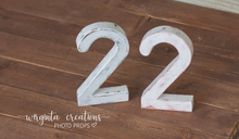 Load image into Gallery viewer, Number 2 Photography Prop. Free-standing. Distressed white. Baby 2nd Birthday Decoration. Wooden distressed number. Cake Smash. Ready to send