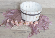 Load image into Gallery viewer, Wooden bowl, vintage style distressed bucket, newborn props,basket, baby photo prop, white, posing prop, photography props