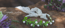 Load image into Gallery viewer, Halo for newborn, dainty headband, tieback. Ready to send
