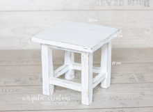 Load image into Gallery viewer, Wooden stool, bench Photography Prop, Sitter, Toddler, Posing prop, Sturdy, Distressed white, Handcrafted, Ready to send