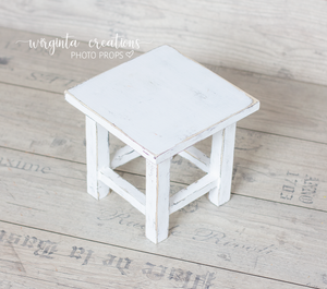 Wooden stool, bench Photography Prop, Sitter, Toddler, Posing prop, Sturdy, Distressed white, Handcrafted, Ready to send