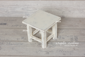 Wooden stool, bench Photography Prop, Sitter, Toddler, Posing prop, Sturdy, Distressed cream, Handcrafted, Ready to send