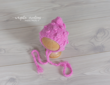 Load image into Gallery viewer, Footed romper and hat set, Newborn, flamingo pink. Bubbly-knit style. Fuzzy yarn. Ready to send