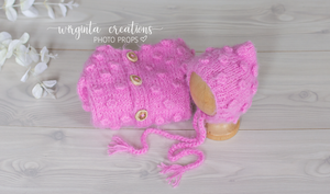 Footed romper and hat set, Newborn, flamingo pink. Bubbly-knit style. Fuzzy yarn. Ready to send