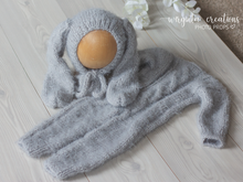 Load image into Gallery viewer, Footless Pyjama Romper and Bunny Hat, 6-12 months old, grey. Fuzzy yarn. Cable knit stitch. Ready to send