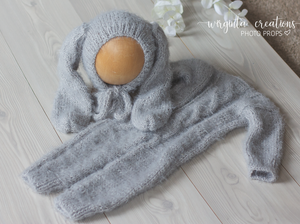 Footless Pyjama Romper and Bunny Hat, 6-12 months old, grey. Fuzzy yarn. Cable knit stitch. Ready to send