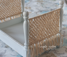 Load image into Gallery viewer, Knotted bed, newborn to sitter, macrame, white-mint, ivory, wooden props. Ready to send