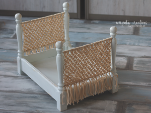 Knotted bed, newborn to sitter, macrame, white-mint, ivory, wooden props. Ready to send