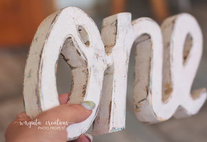 Sign One Photography Props. Baby 1st Birthday Decoration. Curved letters. Wooden distressed letters. Cake Smash. One word. Free-standing. Distressed white, plain white. Ready to send