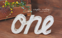 Load image into Gallery viewer, Sign One Photography Props. Baby 1st Birthday Decoration. Curved letters. Wooden distressed letters. Cake Smash. One word. Free-standing. Distressed white, plain white. Ready to send