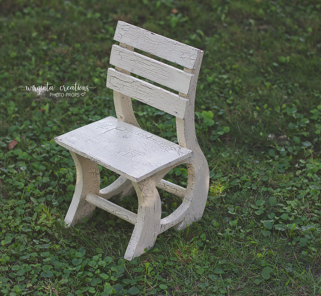 Wooden chair Photography Prop, Sitter, Toddler chair, Posing prop, Sturdy, Distressed Cream, Handcrafted, Ready to send