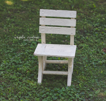 Load image into Gallery viewer, Wooden chair Photography Prop, Sitter, Toddler chair, Posing prop, Sturdy, Distressed Cream, Handcrafted, Ready to send