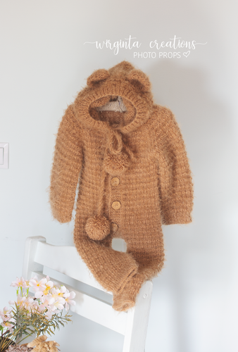 Footless Pyjama Romper with the hood, 9-18 months old, camel brown. Teddy bear outfit. Knitted, soft, fuzzy yarn. Ready to send