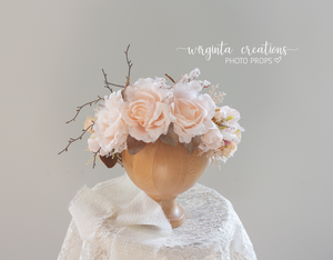 Flower halo, crown, sitter, adult headdress. Floral headband. Maternity. Wedding. Ready to send photo prop