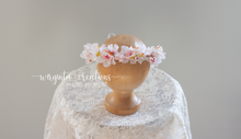 Load image into Gallery viewer, Flower halo tieback for Newborn or sitter, pastel, Ready to send