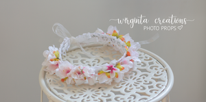 Flower halo tieback for Newborn or sitter, pastel, Ready to send
