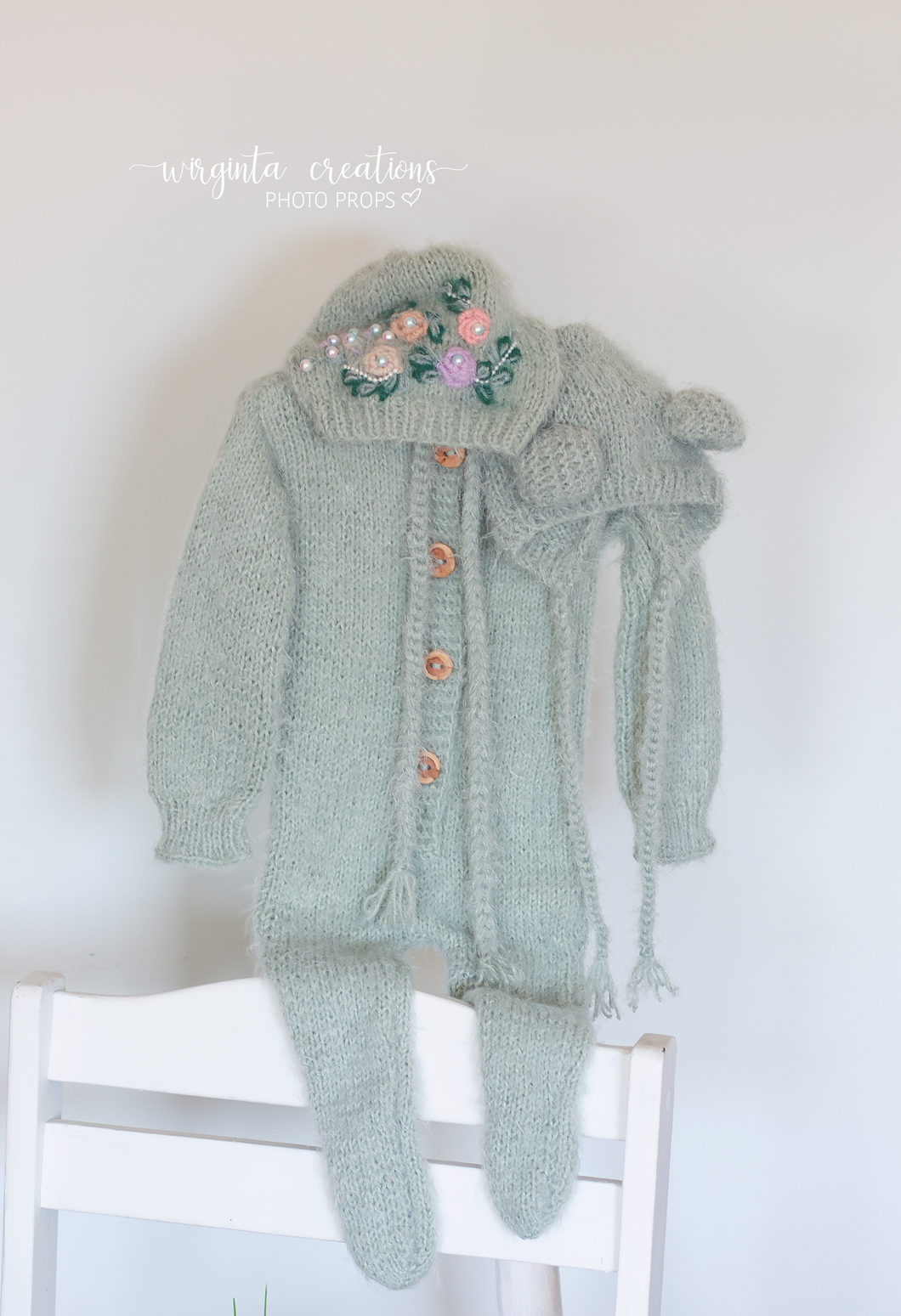 Fuzzy footed romper and matching hats set, Teddy bear bonnet. 9-18 months old, teal, mint. Knitted. Ready to send