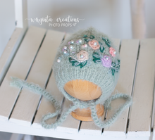 Load image into Gallery viewer, Fuzzy footed romper and matching hats set, Teddy bear bonnet. 9-18 months old, teal, mint. Knitted. Ready to send