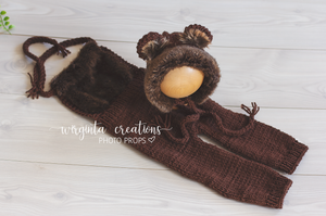 Teddy bear bonnet and coordinating romper, sitter, 9-12 months old, dark brown. Decorated with faux fur. Ready to send photo props