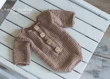 Load image into Gallery viewer, Newborn long-sleeved romper and matching hat. Cream. Pale yellow. Brown. Ready to send photo props