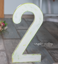 Load image into Gallery viewer, Large Number 2 Photography Prop. Free-standing. Baby 2nd Birthday Decoration. Wooden distressed number. Cake Smash. Around 18 Inches tall. Ready to send