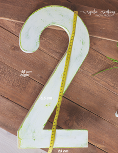 Large Number 2 Photography Prop. Free-standing. Baby 2nd Birthday Decoration. Wooden distressed number. Cake Smash. Around 18 Inches tall. Ready to send