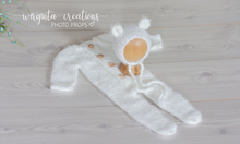Load image into Gallery viewer, Fuzzy soft two piece newborn outfit. Ecru White. Footed romper, long sleeves, teddy bear bonnet/hat. Ready to send photo props