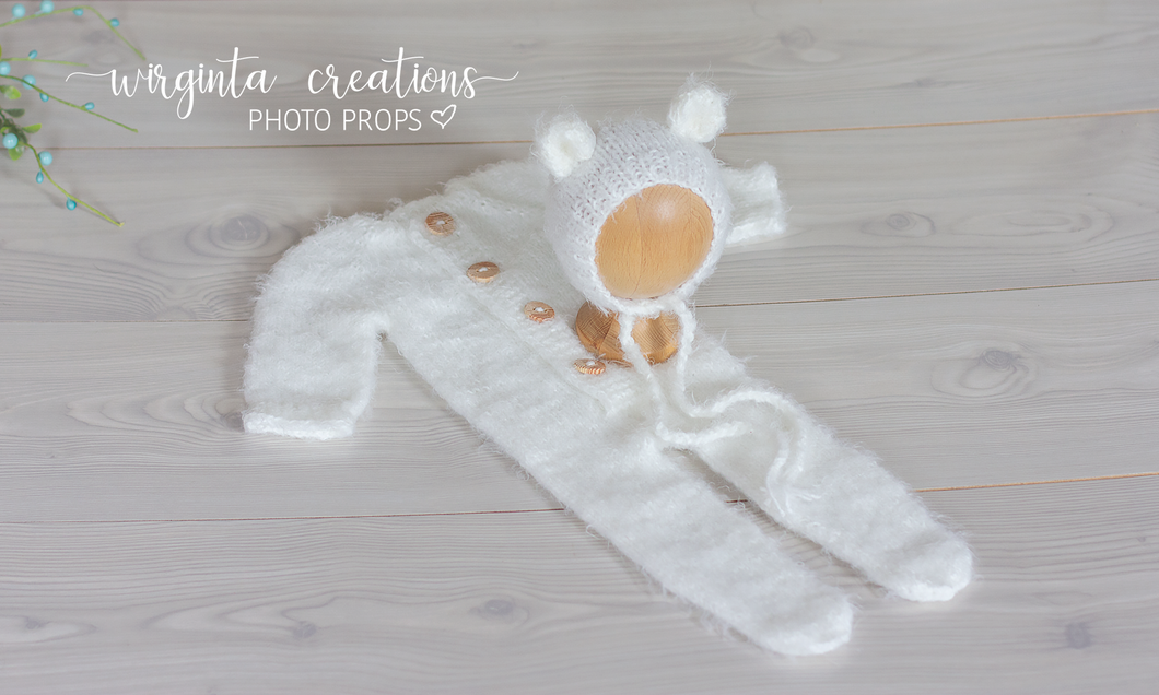 Fuzzy soft two piece newborn outfit. Ecru White. Footed romper, long sleeves, teddy bear bonnet/hat. Ready to send photo props