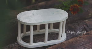 Wooden oval stand, table, stool. Photography Prop, Sitter, Toddler, Posing prop, Sturdy, Cream, Handcrafted, Ready to send