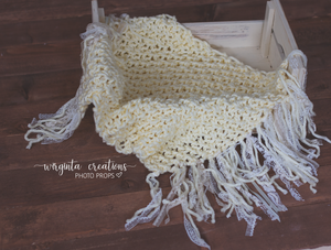 Blanket/layer. Fringe, Cream. Boho style.  Bump blanket. Posing layer. Sitter. Newborn. Ready to send