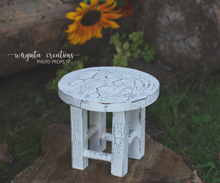 Load image into Gallery viewer, Wooden Round Stool Photography Prop, Sitter, Toddler, Posing prop, Sturdy, Distressed white, Handcrafted, Ready to send
