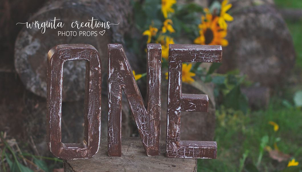 Sign One Photography Props. Baby 1st Birthday Decoration. Wooden distressed letters. Brown. Cake Smash. Ready to send