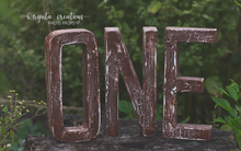 Load image into Gallery viewer, Sign One Photography Props. Baby 1st Birthday Decoration. Wooden distressed letters. Brown. Cake Smash. Ready to send